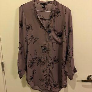 Purple sheer long sleeve blouse